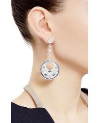 Abellan New York - One Of A Kind Moonstone, Diamond And Blue Sapphire Circle Drop Earrings - Lyst