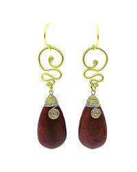 Aeravida - Metallic Cute Brown Howlite Teardrop Brass Swirl Earrings - Lyst