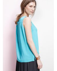 Violeta by Mango - Blue Sleeveless Blouse - Lyst