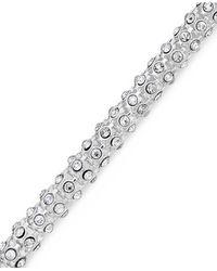 Anne Klein | Metallic Silver-tone Pave Accent Tubular Toggle Bracelet | Lyst