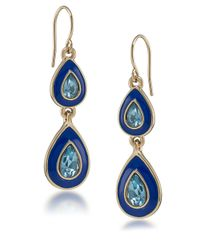 Carolee - Blue Petals Glitz Double Drop Earrings - Lyst