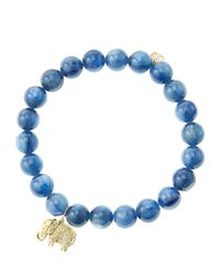 Sydney Evan | Blue 8Mm Kyanite Beaded Bracelet With 14K Gold/Diamond Small Elephant Charm (Made To Order) | Lyst