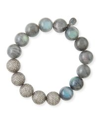 Sheryl Lowe - Metallic 12mm Labradorite & Pave Diamond Beaded Bracelet - Lyst