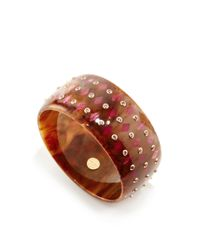 Mark Davis | Multicolor Marbled Brown Bakelite Bangle With Pink Sapphires | Lyst