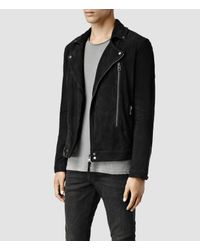 AllSaints | Black Geo Suede Biker Jacket for Men | Lyst