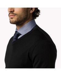 Tommy Hilfiger | Black Wool V-neck Sweater for Men | Lyst