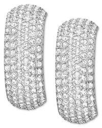 Swarovski | Multicolor Rhodium-Plated Crystal Pave Wide Hoop Earrings | Lyst
