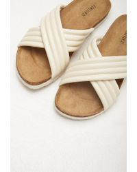 Forever 21 | Natural Ribbed Faux Leather Sandals | Lyst