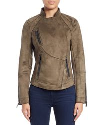 Vince Camuto | Green Faux Suede Moto Jacket | Lyst