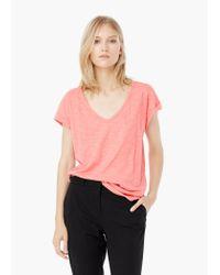 Mango - Pink Cotton T-shirt - Lyst