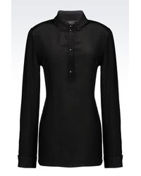 Emporio Armani | Black Shirt In Silk Crêpe | Lyst