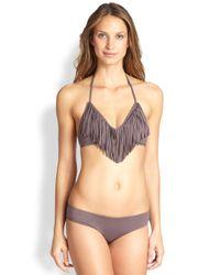 L*Space | Gray Audrey Fringe Halter Bikini Top | Lyst