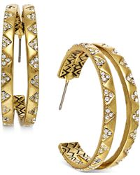 House of Harlow 1960 | Metallic Gold-tone White Pavé Split Hoop Earrings | Lyst