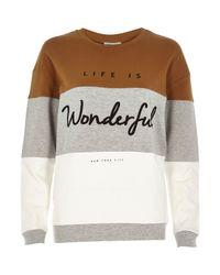 River Island | Gray Grey Wonderful Slogan Sweatshirt | Lyst