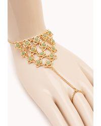 Forever 21 - Metallic Elegant Faux Gemstone Hand Chain - Lyst