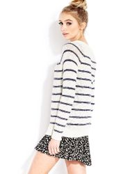 Forever 21 | White Cozy Day Striped Sweater | Lyst