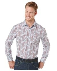 Perry Ellis - Multicolor Gingham Paisley-print Shirt for Men - Lyst