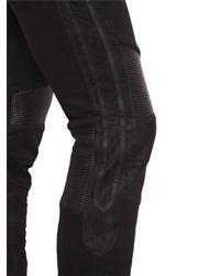 Balmain - Black Leather & Cotton Jersey Jogging Pants for Men - Lyst