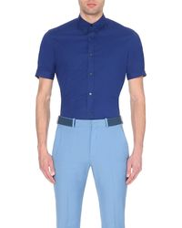 Alexander McQueen | Blue Slim-fit Short-sleeved Shirt for Men | Lyst
