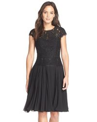 Adrianna Papell | Black Pleated Lace Drop Waist Dress | Lyst