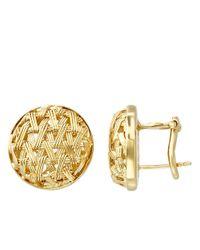 Lord & Taylor | Metallic 14k Yellow Gold Basket Weave Earrings | Lyst
