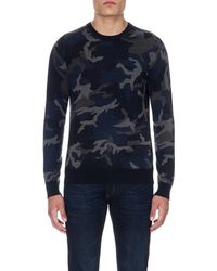 Michael Kors | Black Camouflage Wool Jumper - For Men for Men | Lyst