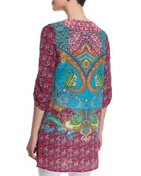 Tolani - Purple Juliet Silk Printed Long Tunic W/ Tassels - Lyst
