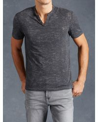 John Varvatos | Blue Short Sleeve Henley With Eyelet Detail for Men | Lyst