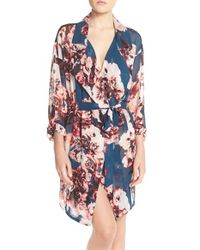 Band Of Gypsies - Blue Lace Back Floral Robe - Lyst