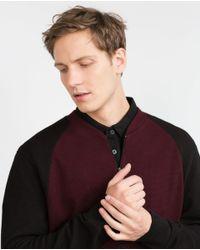 Zara | Purple Piqué Bomber Jacket for Men | Lyst