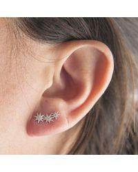 Anne Sisteron - Pink 14kt Rose Gold Diamond Triple Starburst Earrings - Lyst