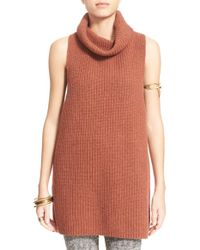 Free People | Brown 'need It Now' Turtleneck Pullover Sweater Vest | Lyst