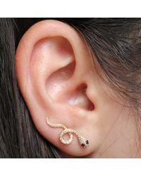 Anne Sisteron - 14kt Yellow Gold Black Diamond Snake Ear Cuff - Lyst