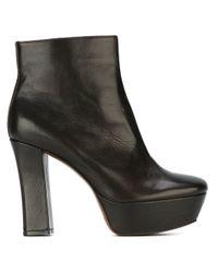 L'Autre Chose - Black Chunky Heel Boots - Lyst