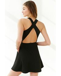 Silence + Noise | Black Cross-back Textured Knit Dress | Lyst