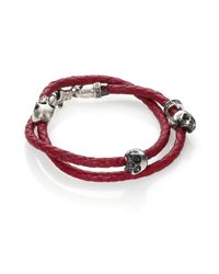 King Baby Studio | Red Thin-braided Double Wrap Leather Bracelet for Men | Lyst