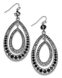 INC International Concepts | Silver-tone Black Diamond Pavé Teardrop Orbital Earrings | Lyst