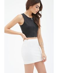 Forever 21 - Black Zippered Faux Leather Top - Lyst