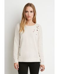 Forever 21 | Natural Dolman-sleeve Distressed Sweatshirt | Lyst