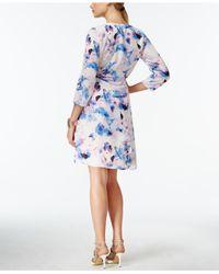 Robert Rodriguez - Pink Floral-print Faux-wrap Dress - Lyst