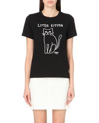Chocoolate | Black Kitten-motif Cotton-jersey T-shirt | Lyst