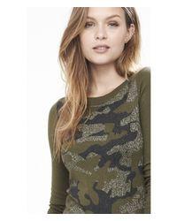 Express - Green Metallic Camo Crew Neck Sweater - Lyst