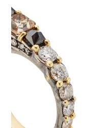 Ara Vartanian | Metallic Yellow Gold Three Finger Ring With Brown, Black And White Diamonds | Lyst