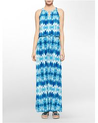Calvin Klein | Blue White Label Abstract Print Keyhole Halter Maxi Dress | Lyst