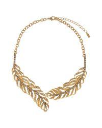 Hobbs - Metallic Feather Necklace - Lyst