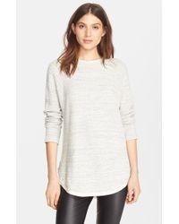 Vince - White Silk Trim Textured Raglan Sleeve Pullover - Lyst
