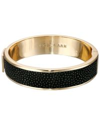 Cole Haan - Metallic Wide Hinged Leather Inlay Bangle - Lyst