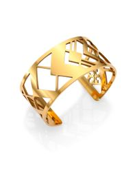 Tory Burch - Metallic Chevron Fret Cuff Bracelet - Lyst