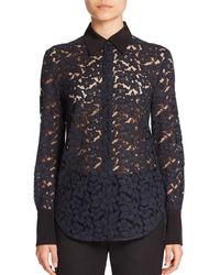 3.1 Phillip Lim - Blue Silk-trim Lace Shirt - Lyst