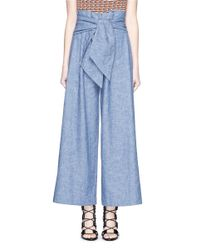 MSGM - Blue Wrap Waist Chambray Culottes - Lyst